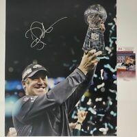 Autographed/Signed DOUG PEDERSON Eagles Super Bowl LII 52 16x20 Photo JSA COA