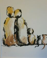 "original watercolour/ink painting   ""Family and pussy cats'"