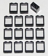 LEGO LOT OF 15 NEW BLACK 1 X 2 X 2 WINDOWS TOWN CITY TRAIN HOUSE BUILDING PARTS