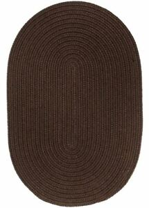 WearEver Durable Country Cottage Home Classic Solid Braided Rug Brown S011