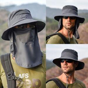 Mens Sun Hat Bucket Cargo Safari Bush Boonie Summer Fishing Cap Wide Brim Fedora