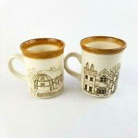 Biltons England Mugs Village Scene Stoneware Vintage Coffee Cups Lot of 2