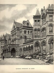 Vintage Print: GENERAL INFIRMARY, LEEDS after Pencil Drawing by GRAHAM CLILVERD