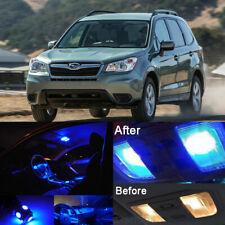Blue LED Interior Kit + White License Light LED For Subaru Forester 1998-2017