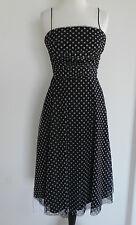 Vtg Jessica Howard Spaghetti Strap Dress  Mesh Black White Dots Mid-Calf Size XS