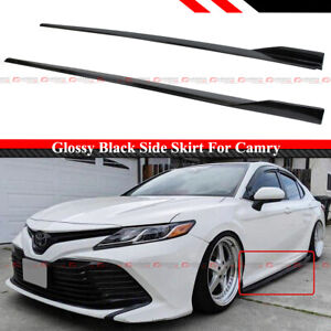 FOR 18-2021 TOYOTA CAMRY LE SE XSE XLE JDM GT GLOSSY BLACK SIDE SKIRT EXTENSION