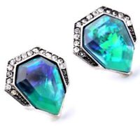NORTHERN LIGHTS IRIDESCENT BLUE GREEN Crystal Rhinestone Silver Stud Earrings