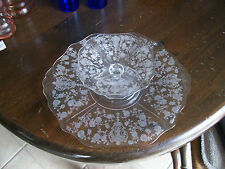 """Cambridge Rose Point cheese 5 1/2"""" comport & cracker 11 1/2"""" plate 3400/6"""