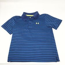Boys Under Armour Short Sleeve Striped Polo Shirt Toddler 4T Blue Dressy Casual