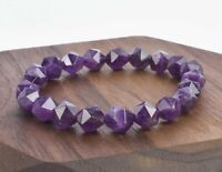 Natural Nugget Faceted Amethyst Healing Gemstone Beaded Meditation Mala Bracelet