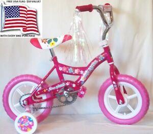 BMX BIKE: PINK GIRLS 12 inch with Adjustable Training Wheels +FREE USA 3x5' Flag