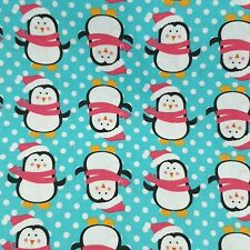 Christmas Fabric Freedom 100% Cotton Funky Penguins Blue Background 50 x 110cm