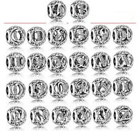 New Genuine 925 Sterling Silver 26 Letter Silver Bracelet Pendant Charm Beads