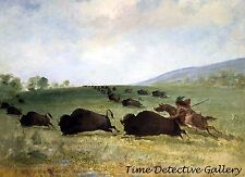 An Osage Indian Lancing a Buffalo - 1847 - George Catlin Art Print