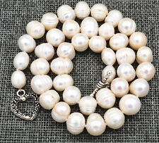 Tibetan silver love clasps 11-12mm Natural freshwater akoya pearL Necklace 18 ""