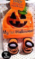 Infant Boy Baby Essentials 1st Halloween Pumpkin Embroidery Hat & Sock Set 0-6 M