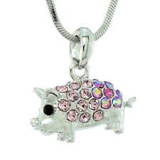 """Pig Made With Swarovski Crystal PIGLET Luck Pink Pendant Necklace 18"""" Chain"""