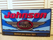 Vintage Sign Johnson Seahorse Outboard Motor Boat Fishing Metal Nautical Sign