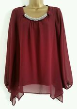NEW WALLIS Plum Red Embellished Necklace Evening Blouse Top Tunic 6-22