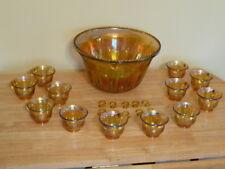 VINTAGE CARNIVAL GLASS IRIDESCENT GRAPE & LEAF PUNCH BOWL & 12 CUP SET