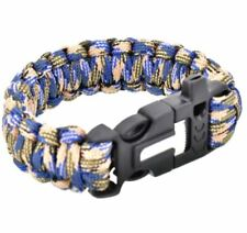 Survival Paracord Bracelet Whistle Flint Fire Starter Scraper Kit - Blue Gray