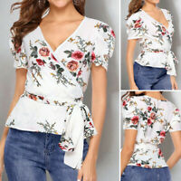 Summer Womens Puff Sleeve V Neck Floral Shirt Blouse OL Party Plus Size Wrap Top