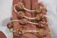 Vintage Mid Century Ornate Venetian Cream Wedding Cake Art Glass Bead Necklace