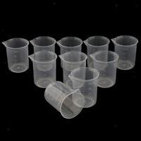 10 Pcs Lab 50-250ml Plastic Graduated Measuring Beaker Liquid Cup Container