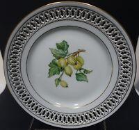 """SH6 b&g BING & GRONDAHL RETICULATED FRUIT PLATE, 8 1/2"""" porcelain GOOSEBERRY"""