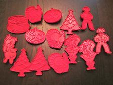 LOT 14 VTG TUPPERWARE RED PLASTIC COOKIE CUTTER~XMAS HOLIDAY,PIG,BIRTHDAY,TURKEY