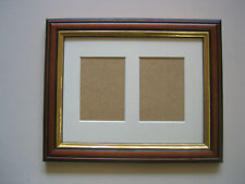 TEAK/GOLD WOODEN DOUBLE ACEO/SCHOOL PICTURE FRAME WITH 2 HOLES,IVORY MOUNT