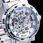 Luxury Mechanical Men's Steampunk Skeleton Stainless Steel Wrist Watch
