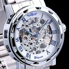 Luxury Mechanical Men's Steampunk Skeleton Stainless Steel Wrist Watch