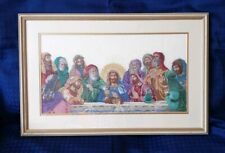 Vintage  / Retro Framed Tapestry Needlepoint of Jesus Christ And 12 Disciples