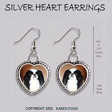 Japanese Chin Dog - Heart Earrings Ornate Tibetan Silver