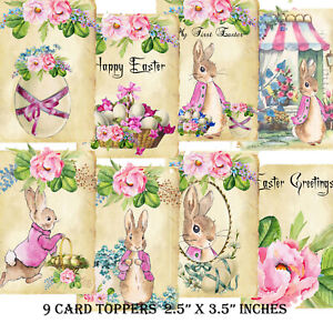 9 Card Toppers Flopsy Bunny, Easter VintageToppers,Scrapbooking,Cardmaking, Tags