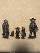 5 Vintage Antique Cast Iron Amish Family Figures Set - Americana Folk Art Toy