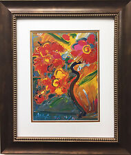 "Peter Max ""Vase with Flowers I"" New CUSTOM FRAMED Print Art POP deco psychedelic"