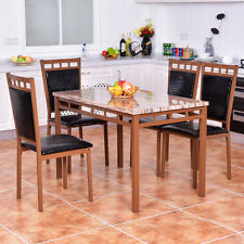 5 PC Dining Set Faux Marble Table And PU Chairs Home Kitchen Breakfast Furniture
