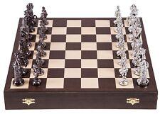 Schach Schachspiel - MITTELALTER - SILVER EDITION - Schachbrett aus Holz Wenge