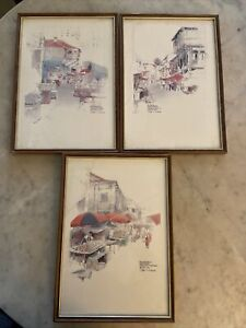 3 x Lovely Framed  WAN SOON KAM prints of Singapore Chinatown 27 cm x 38 cm