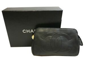Authentic CHANEL Pouch Coco Mark Vintage  Leather #1801