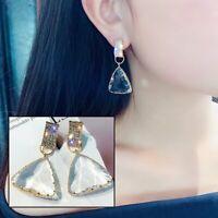 Popular Geometric Triangle Earrings Women Clear Crystal Statement Drop Dangle