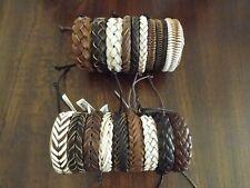 Leather Beaded Bracelet Cuff Wristband Men Women Leather Rope Bangle
