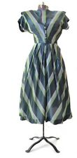 Size XS Vintage 1940s Dress Green Stripe 40s Costume small
