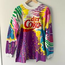 Vintage 90's Diet Coke Large Long Sleeve T-Shirt with Colorful Graphic Print