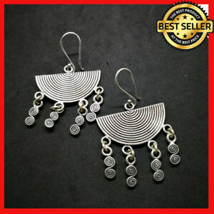 Fine 925 Silver Earrings Vintage Half Round Fan Hangin Spiral ER1111 AUCmon