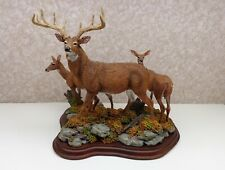 "Danbury Mint White Tail Deer Figurine "" Standing Guard"" Buck Doe Fawn Exc!"