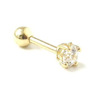 9ct Gold Cubic Zirconia Barbell Ear Cartilage Stud Helix Stud Earring Solid