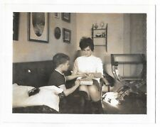 Vintage b&w 60s Polaroid PHOTO Mom & Little Boy Engaged In Activity Together